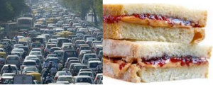 traffic jam with peanut butter and jelly