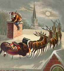 Sleigh on house